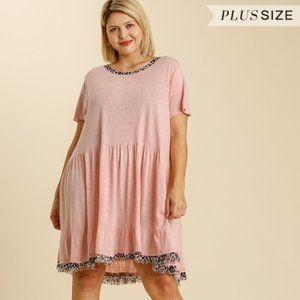 Umgee Plus Size Blush Animal Print Trim Dress